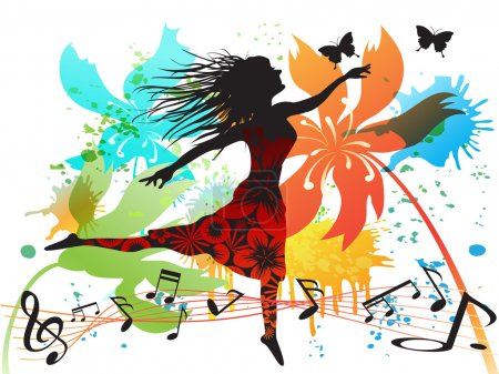 Illustration pour Une femme dansant au printemps - image libre de droit