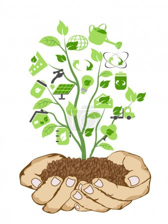 Illustration for The background of hands holding green icons - Royalty Free Image