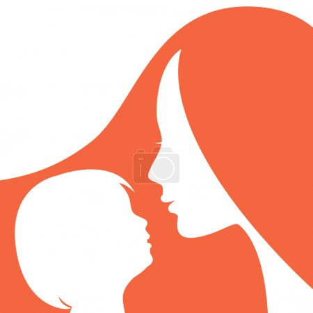 Silhouettes of mother and the child.