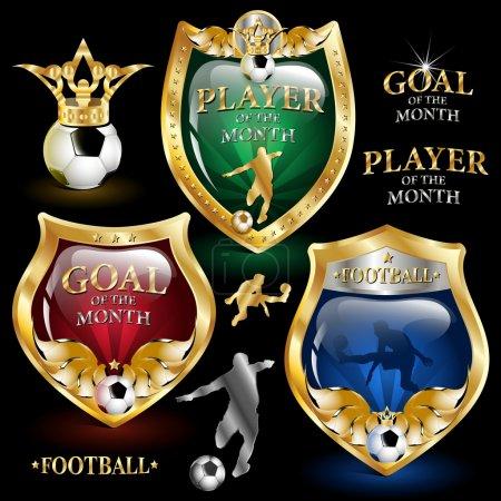 Illustration for Vector football emblem on a black background - Royalty Free Image