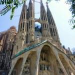 View of the facade of the Sagrada familia church, ...