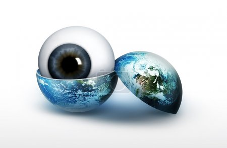Eyeball in an empty world isolated on white backgr...