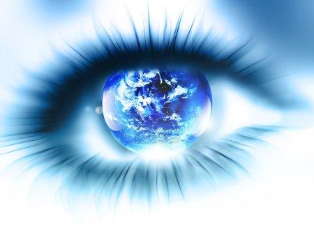 Photo pour Planète est dans l'oeil flou abstrait - image libre de droit