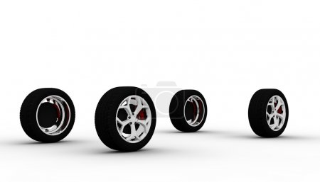 Four wheel isolated on a white background...