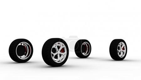 Photo pour Quatre roues isolées sur fond blanc - image libre de droit