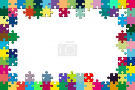 Photo for A multicolored puzzle frame with a white background - Royalty Free Image