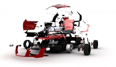 Photo pour Une voiture de sport rouge a explosé dans de nombreuses parties - image libre de droit