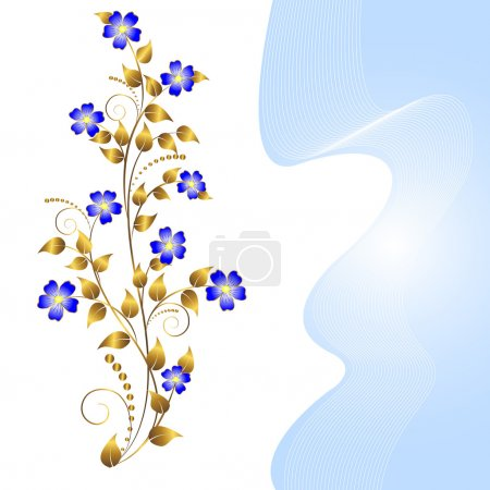 Illustration for Floral ornament isolated on white with banner. Vector. - Royalty Free Image