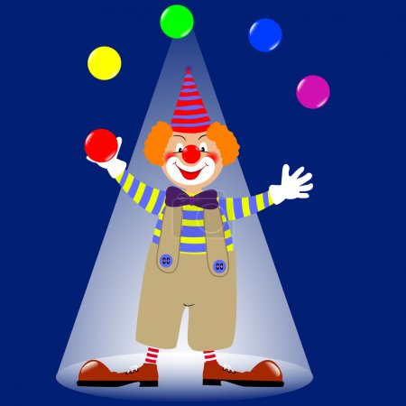 Illustration for A clown juggling colorful balls. vector. - Royalty Free Image
