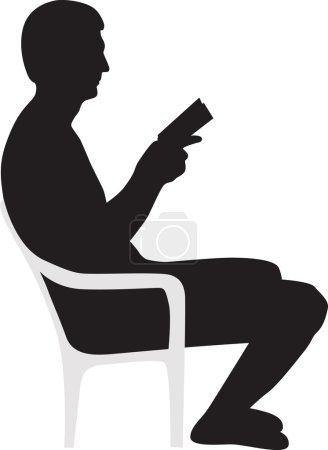 Man reading a book silhouette vector