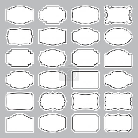 Illustration for Set of 24 blank vintage labels, scalable and editable vector illustration - Royalty Free Image