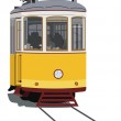 Lisbon tramway isolated in white, vector...