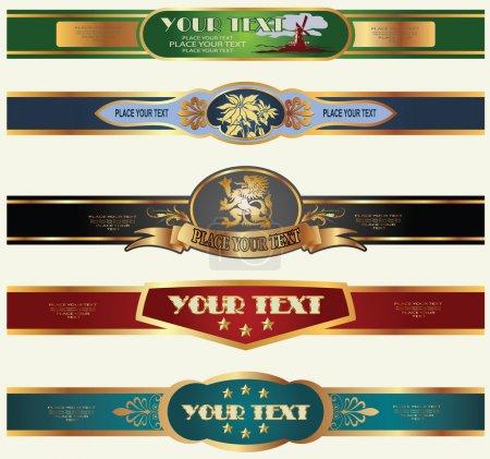 Ilustración de Etiquetas marcos de oro en diferentes temas para la decoración y diseño - Imagen libre de derechos