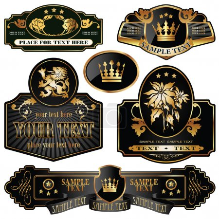 Illustration for Gold-framed labels on different topics - Royalty Free Image