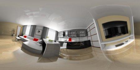 Photo pour Salle de dessin intérieur moderne pour la création d'une photographie panoramique - image libre de droit
