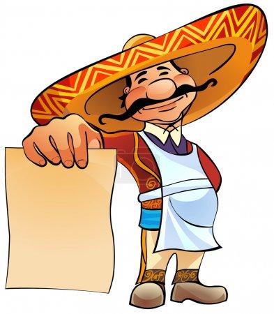 Photo pour Heureux cuisinier mexicain tient à la main une feuille de papier vierge . - image libre de droit