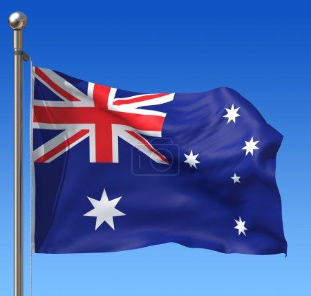 Flag of Australia against blue sky. 3d illustration.