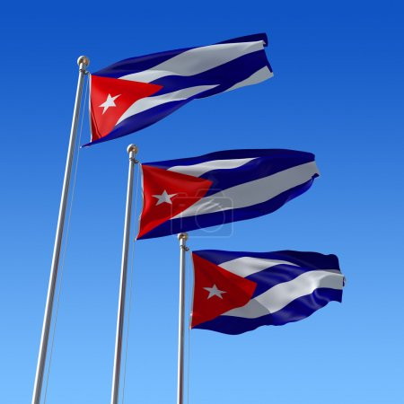 Three flags of Cuba against blue sky. 3d illustration.