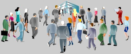 Photo for Illustration of a crowd of business going to the mall. - Royalty Free Image