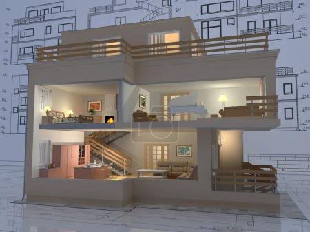 Photo pour Vue 3D isométrique de la coupe maison résidentielle sur architecte dessin. - image libre de droit