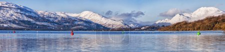 Photo for A panoramic view of the majestic and impressive ben lomond from across loch lomond near the scottish town of balloch. - Royalty Free Image