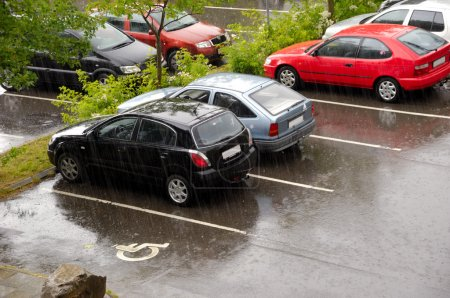 Cars on a rainy day