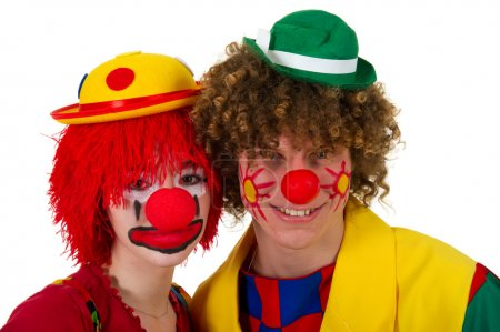 Funny portraits of a couple clowns in the studio...