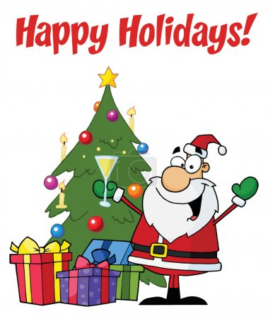 Photo for Happy Holidays Greeting With Santa Toasting By A Tree - Royalty Free Image