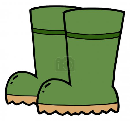 Pair Of Green Gardening Rubber Boots
