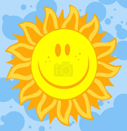 Photo for Happy Freckled Sun Face With Petal Like Rays - Royalty Free Image