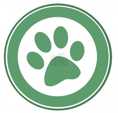 Green Dog Paw Print