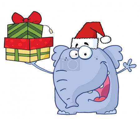 Christmas Elephant Holds Up Gifts