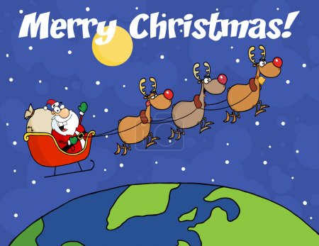 Merry Christmas Over Santa Waving And Flying Above Earth