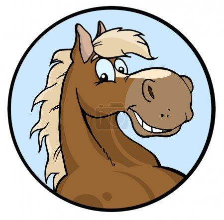 Photo pour Joyeux visage de cheval sur un cercle bleu - image libre de droit