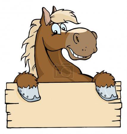 Photo pour Cheval brun heureux, donnant sur un panneau de bois vierge - image libre de droit