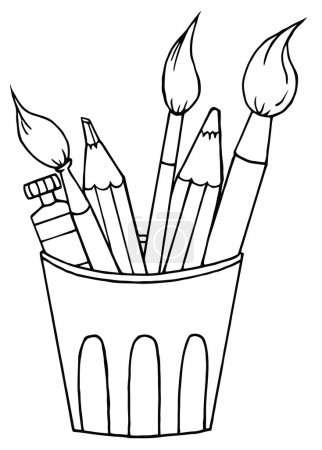 Photo for Coloring Page Outline Of A Cup Of Pencils And Paintbrushes - Royalty Free Image