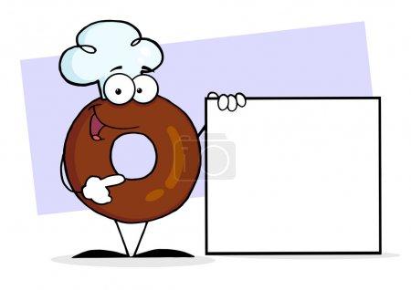 Photo pour Donut personnage portant un chapeau de chef et debout près d'un signe vide - image libre de droit
