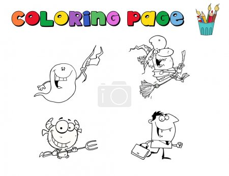 Halloween Character Coloring Page Outlines