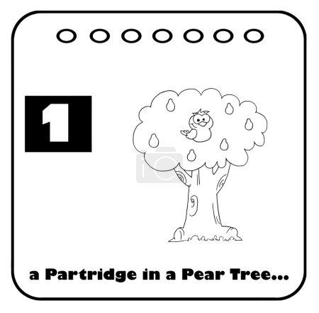 Photo pour Perdrix noir et blanc dans un Poirier avec texte et number one - image libre de droit