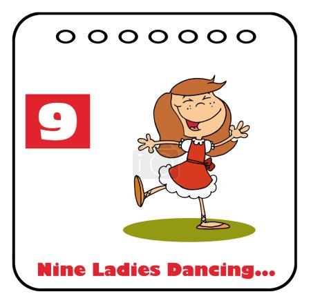Photo pour Dame danse sur un calendrier de Noël avec le texte et le numéro neuf - image libre de droit