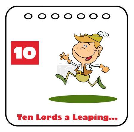 Photo pour Seigneur, sautant sur un calendrier de Noël avec le texte et le numéro dix - image libre de droit
