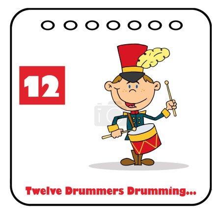Photo pour Batteur tambouriner sur un calendrier de Noël avec le texte et le numéro douze - image libre de droit
