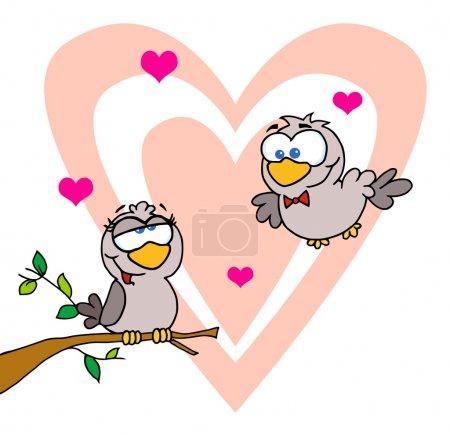 Photo pour Deux tourterelles par une branche en face d'un grand coeur - image libre de droit
