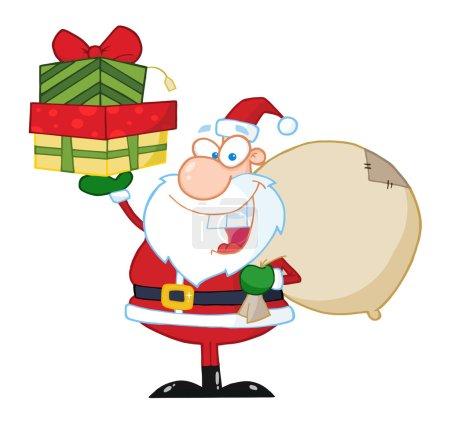 Photo pour Père Noël tenant une pile de cadeaux - image libre de droit