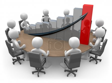 Photo pour 3D faire une réunion sur une table avec un grand graphique . - image libre de droit