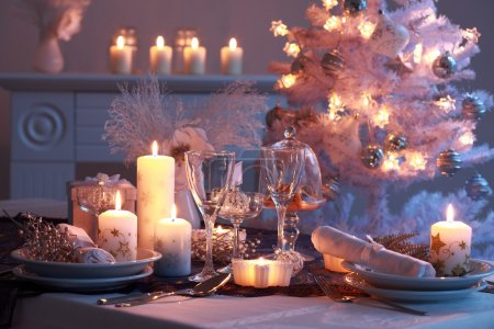Photo for Place setting for Christmas in white - Royalty Free Image