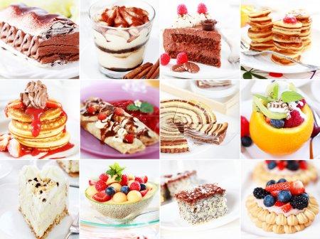 Photo pour Collection de gâteaux de différents desserts délicieux amd - image libre de droit