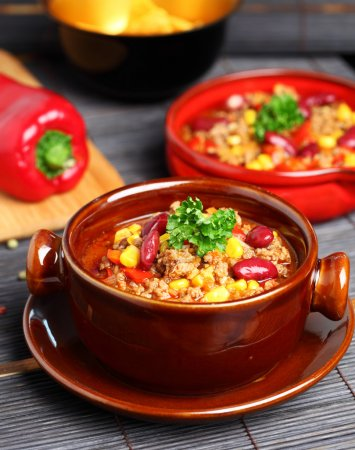 Photo for Bowl of chili with peppers and beans - Royalty Free Image