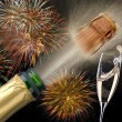 Happy new year with fireworks and champagner...