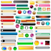 Web buttons collection with 63 scalable assorted colors and shapes inc round square rectangles and oval shaped buttons Isolated on white